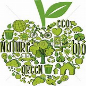 Apple icon made up of smaller green images